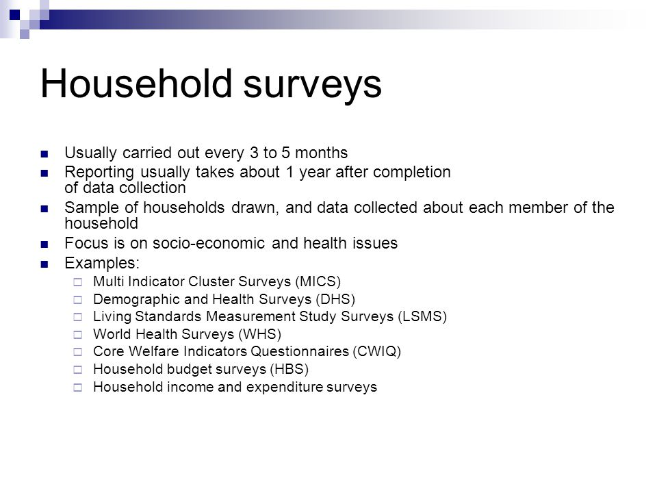 Human development indicators ppt video online download for Design of household surveys