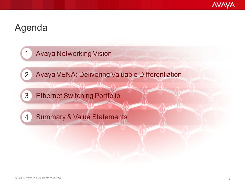 Agenda 1 Avaya Networking Vision 2