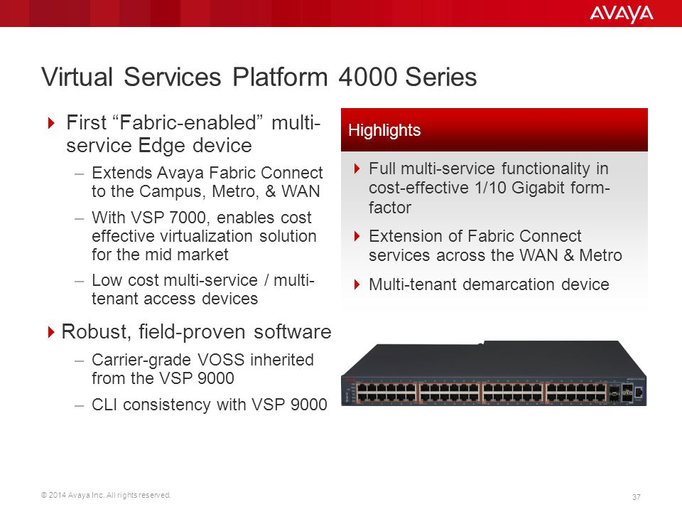 Virtual Services Platform 4000 Series