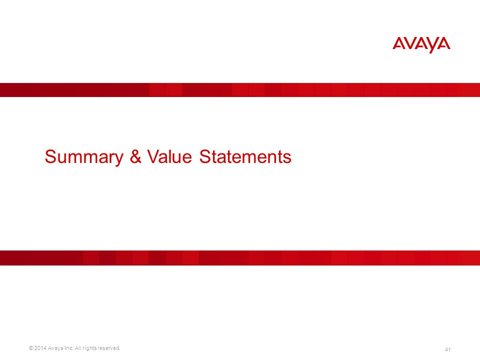 Summary & Value Statements
