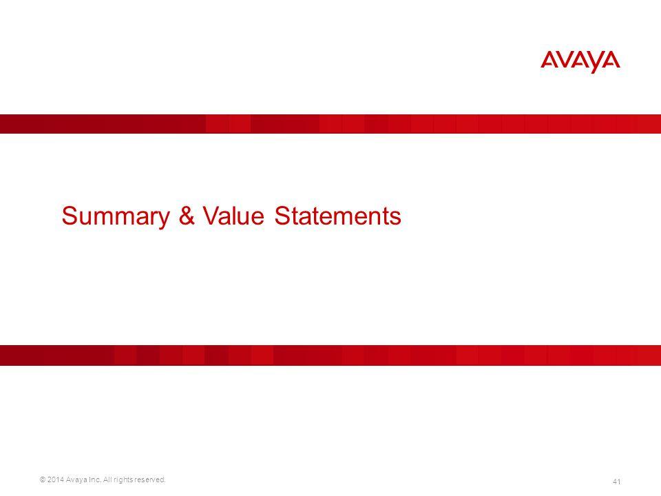 Summary & Value Statements