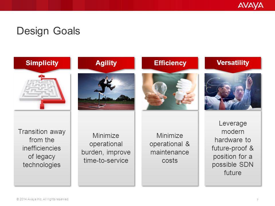 Design Goals Simplicity Agility Efficiency Versatility
