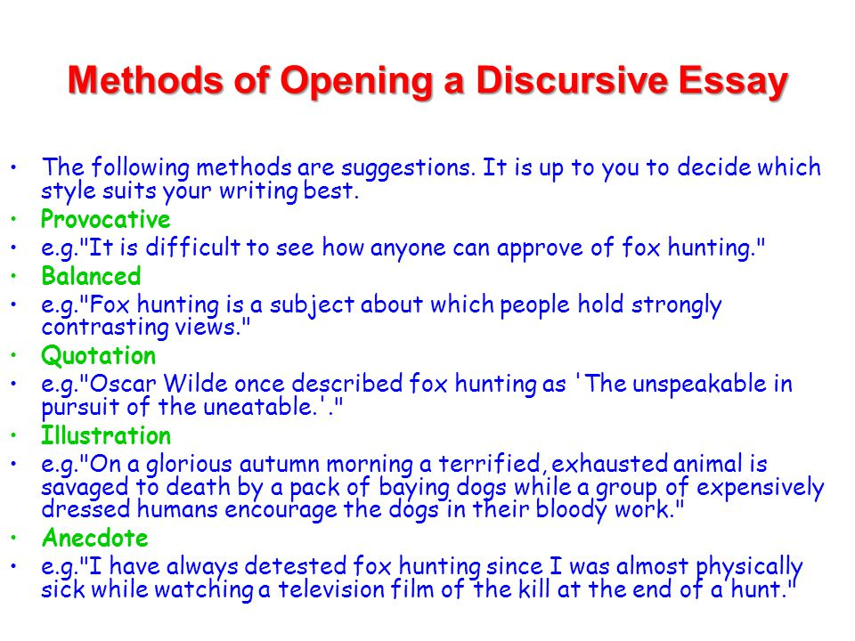 discursive writing ppt video online  methods of opening a discursive essay