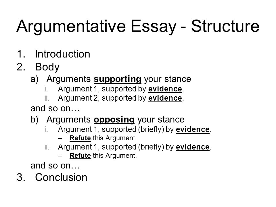 Academic argumentative essay structure