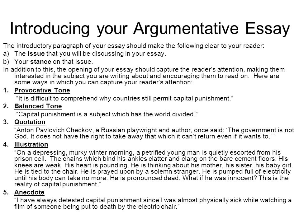 good intro to an argumentative essay An example of an introduction to an essay' and find  a good topic sentence in  an argumentative essay will be a thesis statement (topic + argument.
