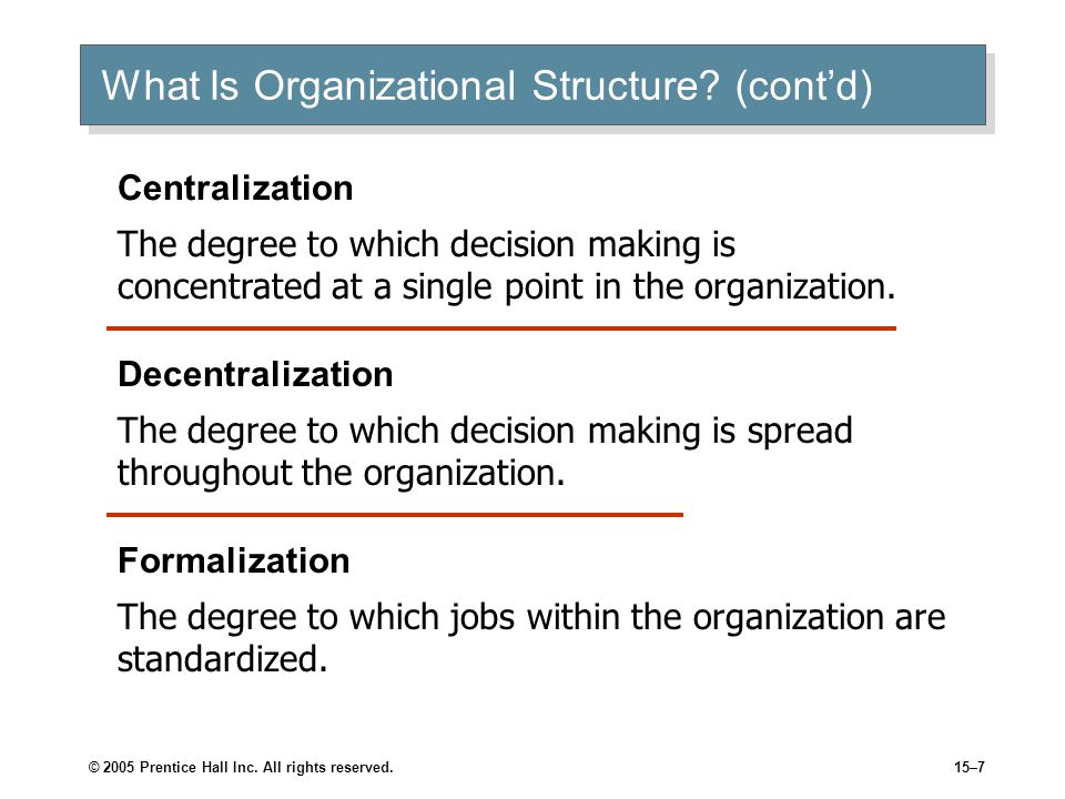 Describe your recommended organizational structure.
