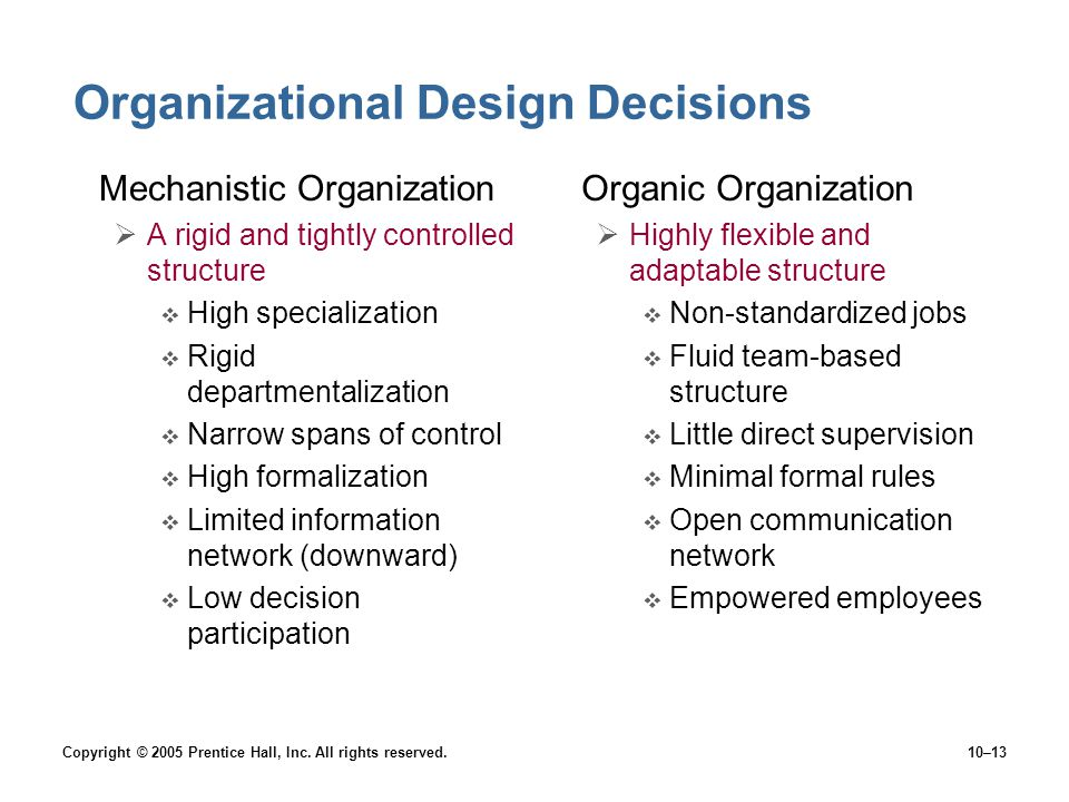 Organizational Design Decisions