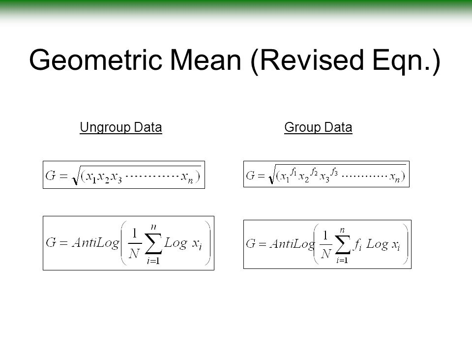 Worksheet Formula For Ungroup And Group Data Mode Maen Median Harimic Mean Geometric Mean descriptive statistics ppt video online download geometric mean of group data 10 geometric