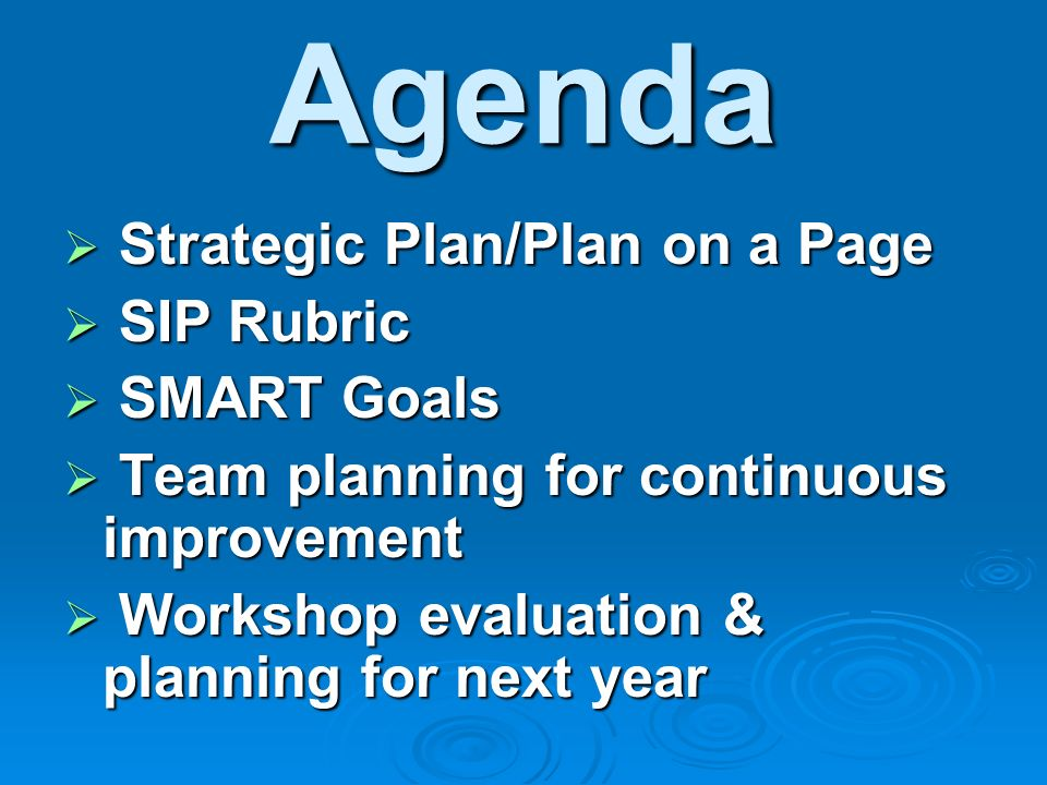 Agenda Strategic Plan/Plan on a Page SIP Rubric SMART Goals