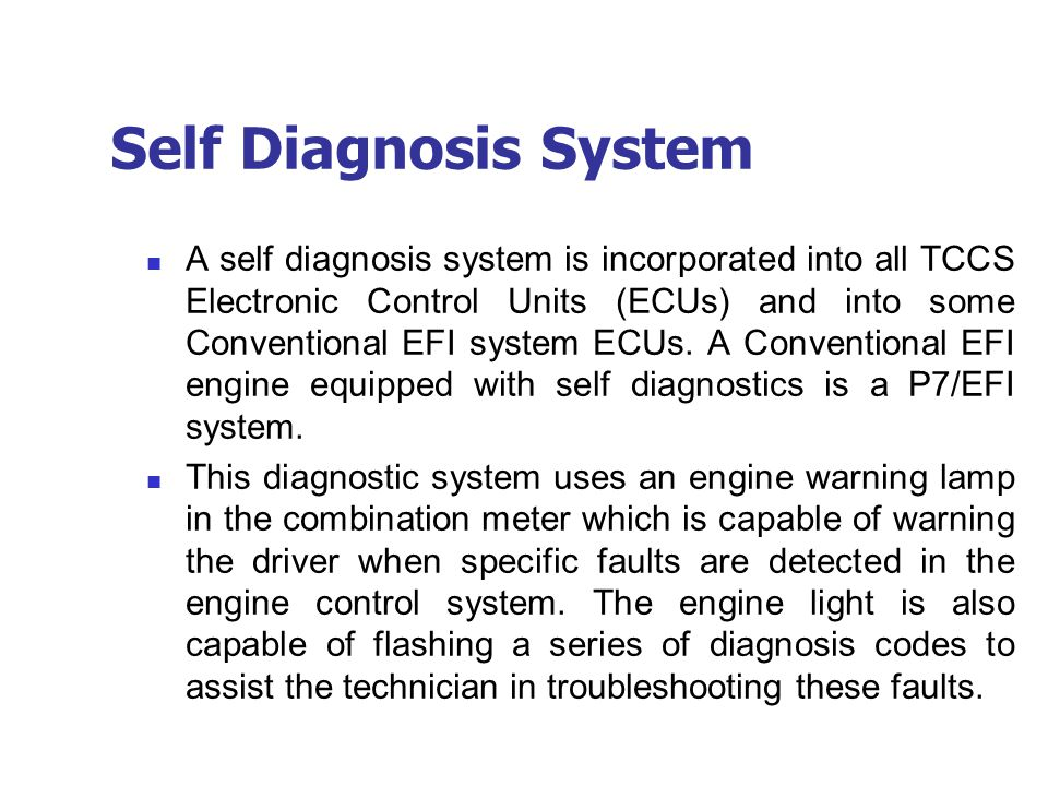 Self Diagnosis System