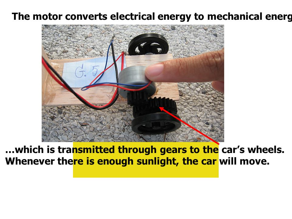 The motor converts electrical energy to mechanical energy...