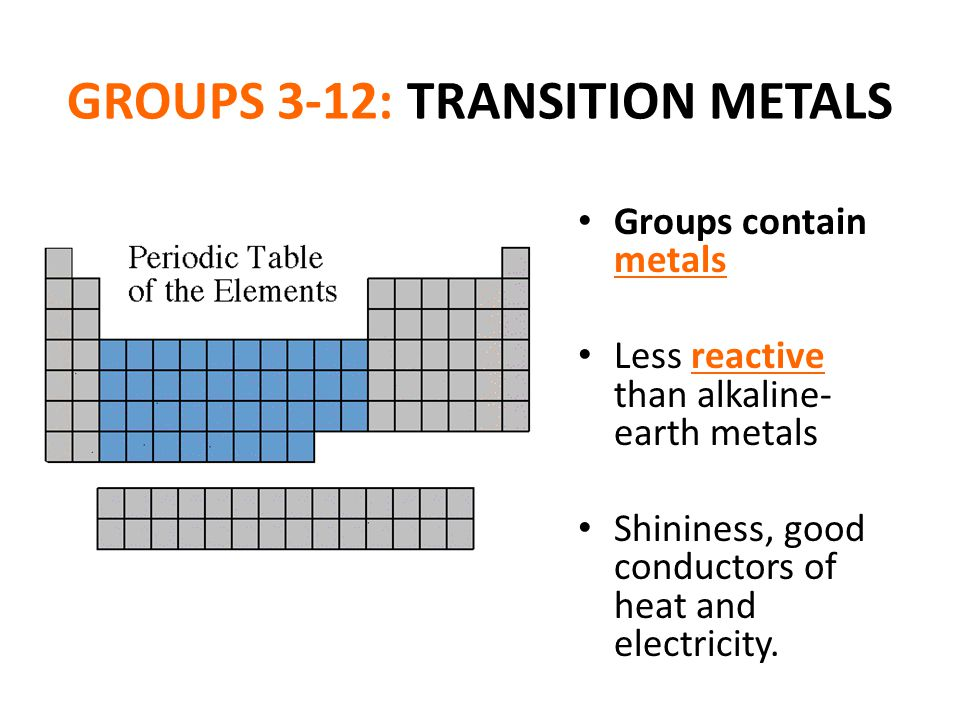 Periodic table of the elements ppt video online download 21 groups 3 12 transition metals urtaz Image collections