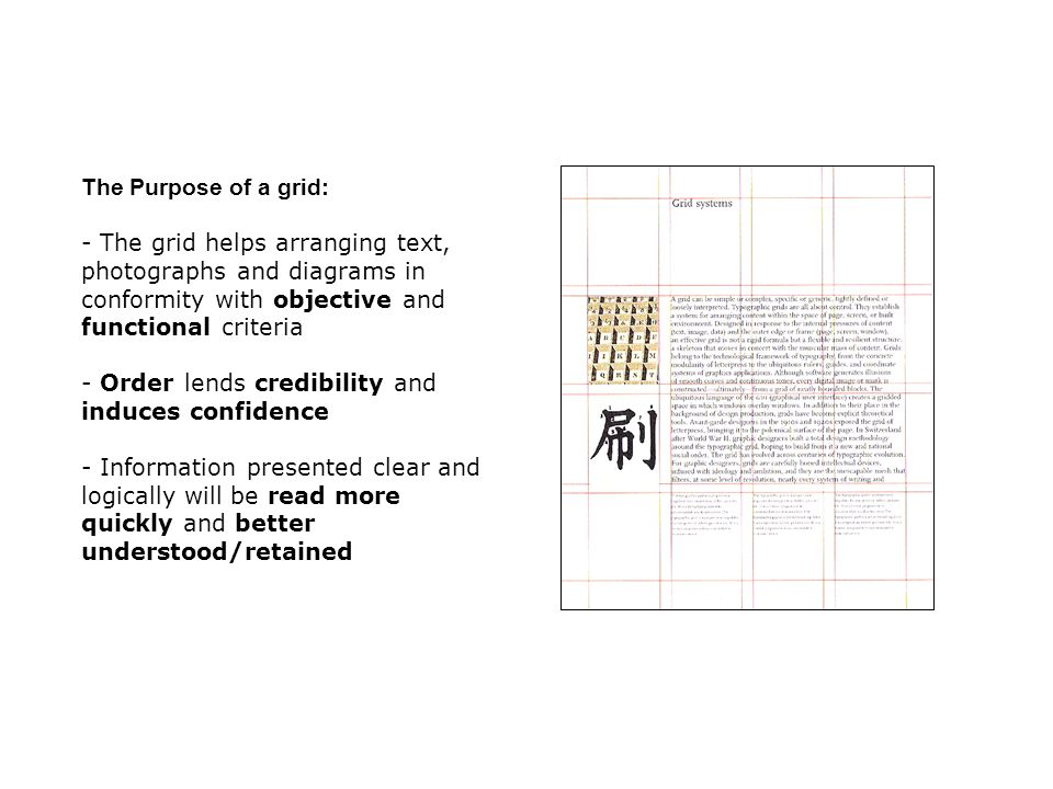 The Purpose of a grid: The grid helps arranging text, photographs and diagrams in conformity with objective and functional criteria.