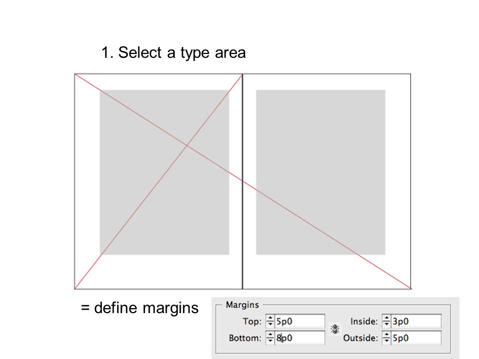 1. Select a type area = define margins