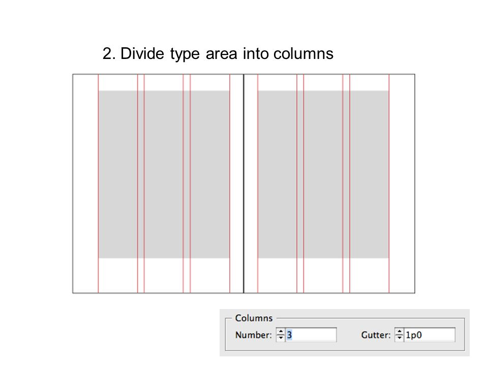 2. Divide type area into columns