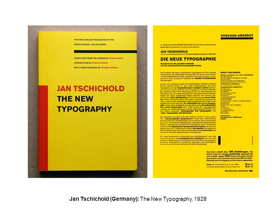 Jan Tschichold (Germany): The New Typography, 1928