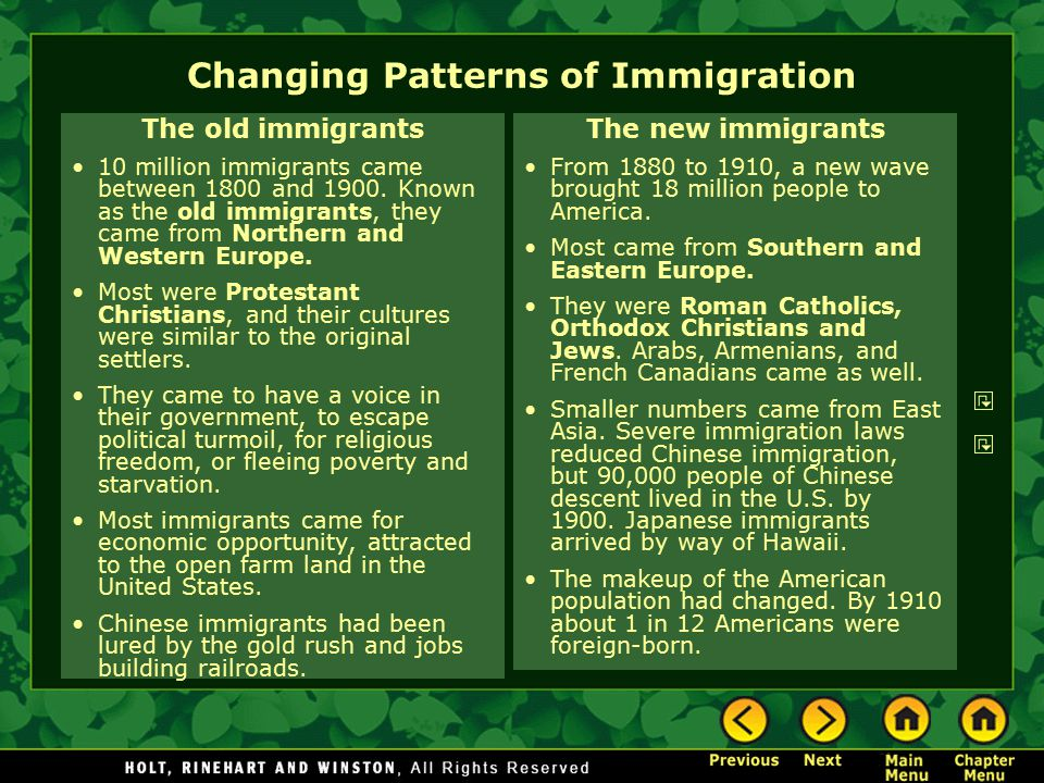 changing immigration patterns Immigration has gone through many different stages of change just as the nation of canada had many stages of change transformations of immigration during the post-war period greatly.