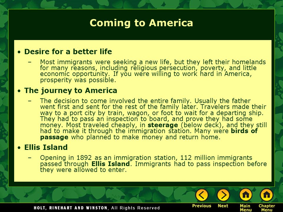 Coming to America Desire for a better life The journey to America