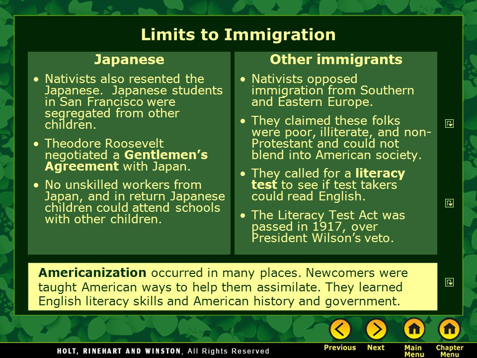 Limits to Immigration Japanese Other immigrants
