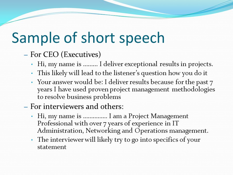 business presentation speech sample