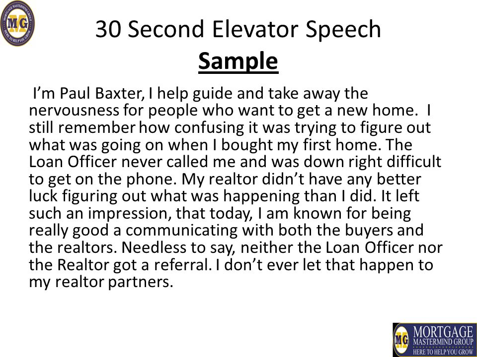 elevator speech on customer service Write your own elevator speech - make a connection in 30 seconds or less developing a 30 second commercial a 30-second commercial is a brief statement of what you consider yourself to have become at this stage of your life.
