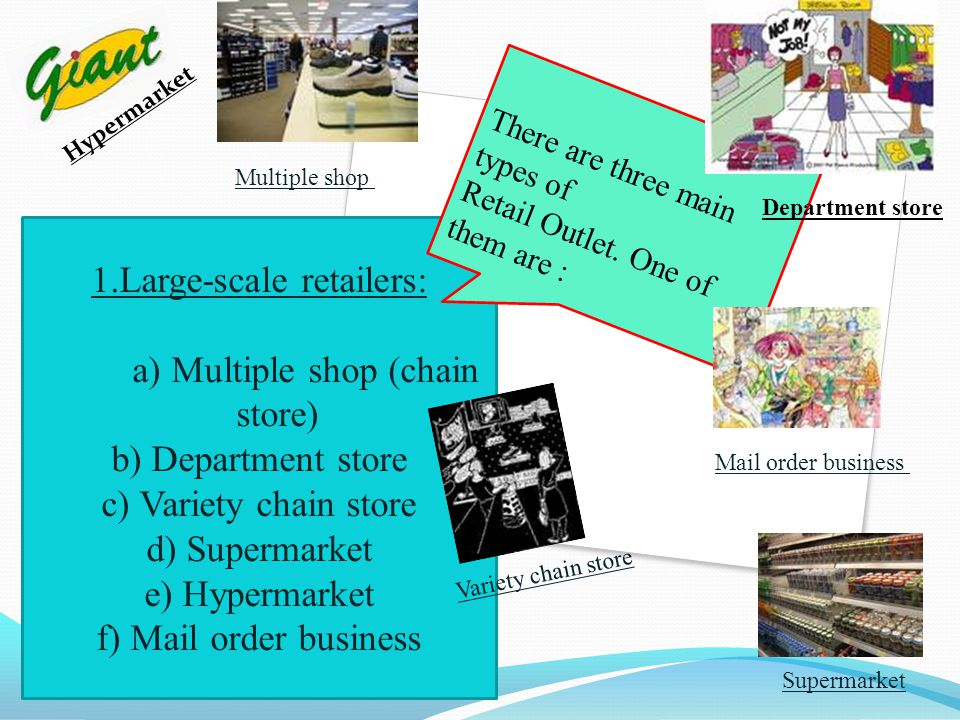 1.Large-scale retailers: a) Multiple shop (chain store)