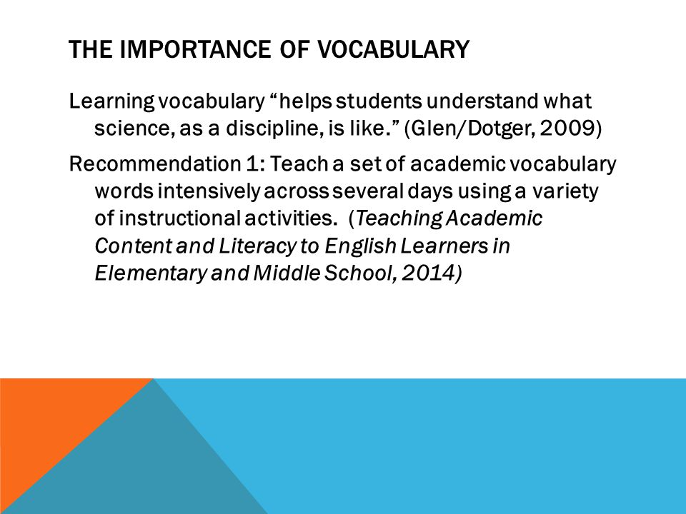 the importance of vocabulary In order to be independent readers, students must understand 98% of what they are reading when introducing a next text or concept, it is important to pre-teach key vocabulary.