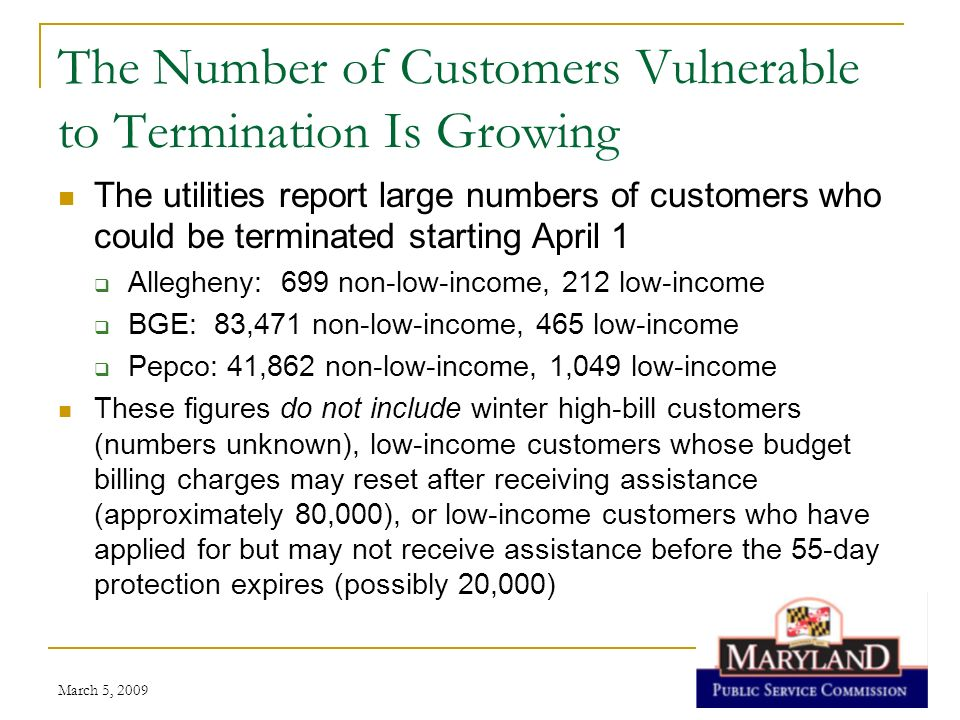 The Number of Customers Vulnerable to Termination Is Growing