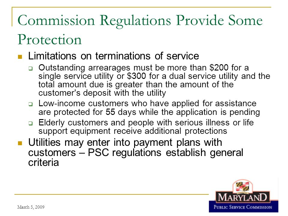 Commission Regulations Provide Some Protection