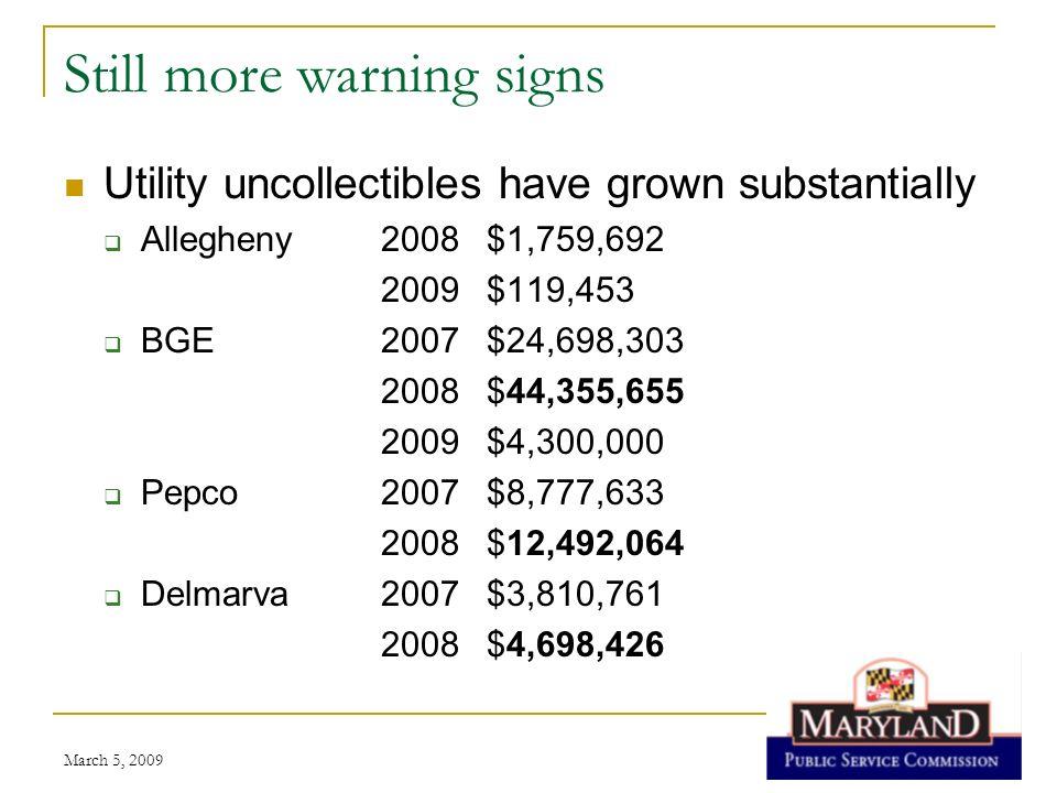 Still more warning signs