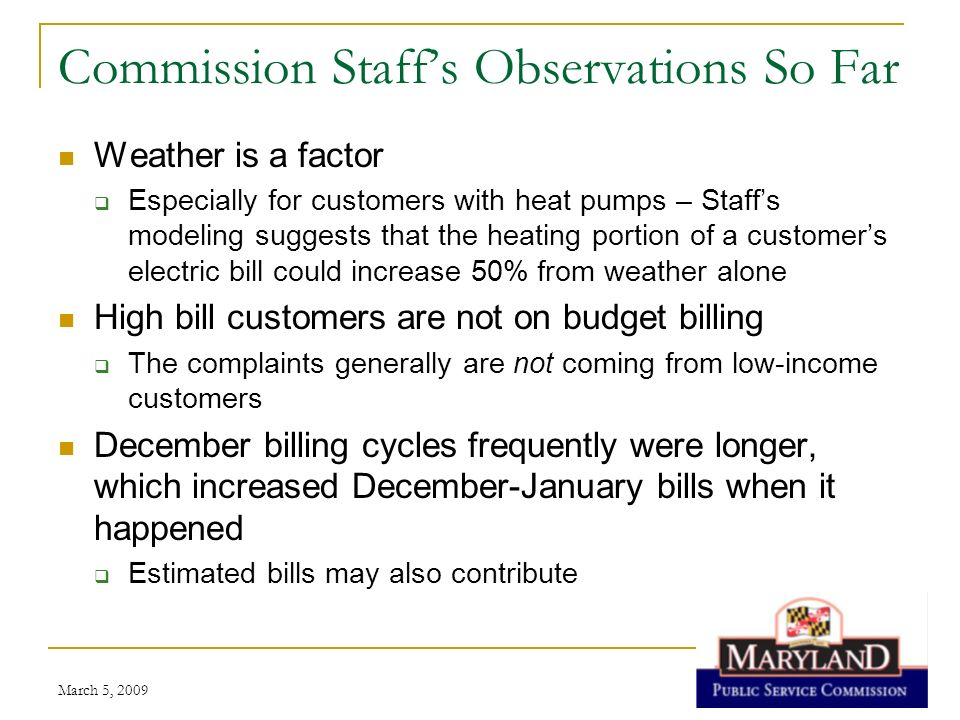 Commission Staff's Observations So Far