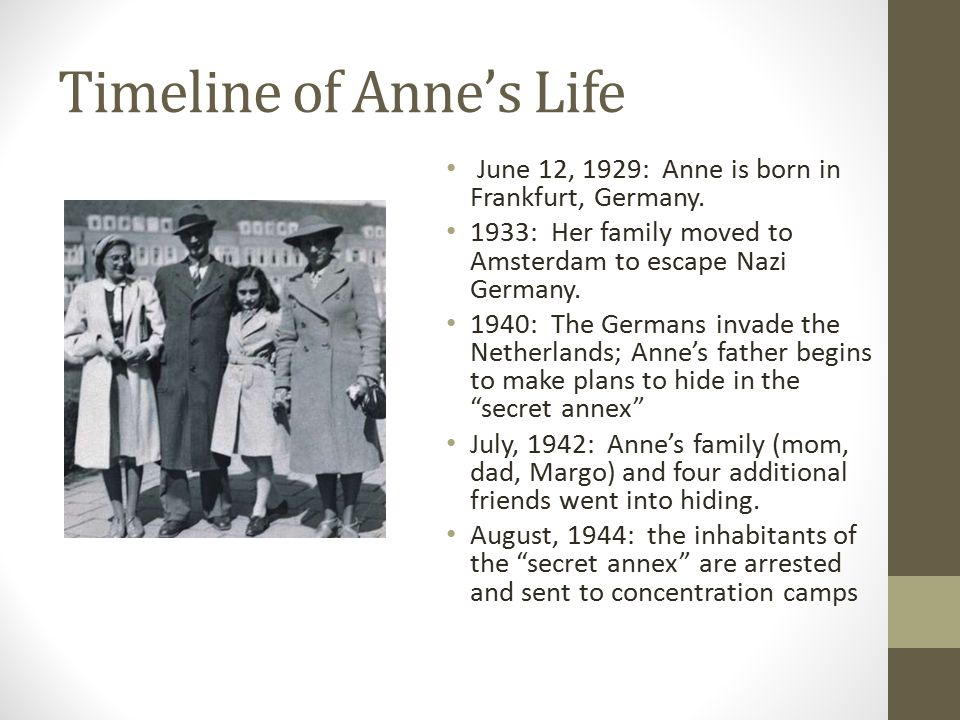 an introduction to the life of anne frank Anne frank: the story of a most because her life was self-recorded in a diary that covered the last two years of her life anne's diary was perserved by.