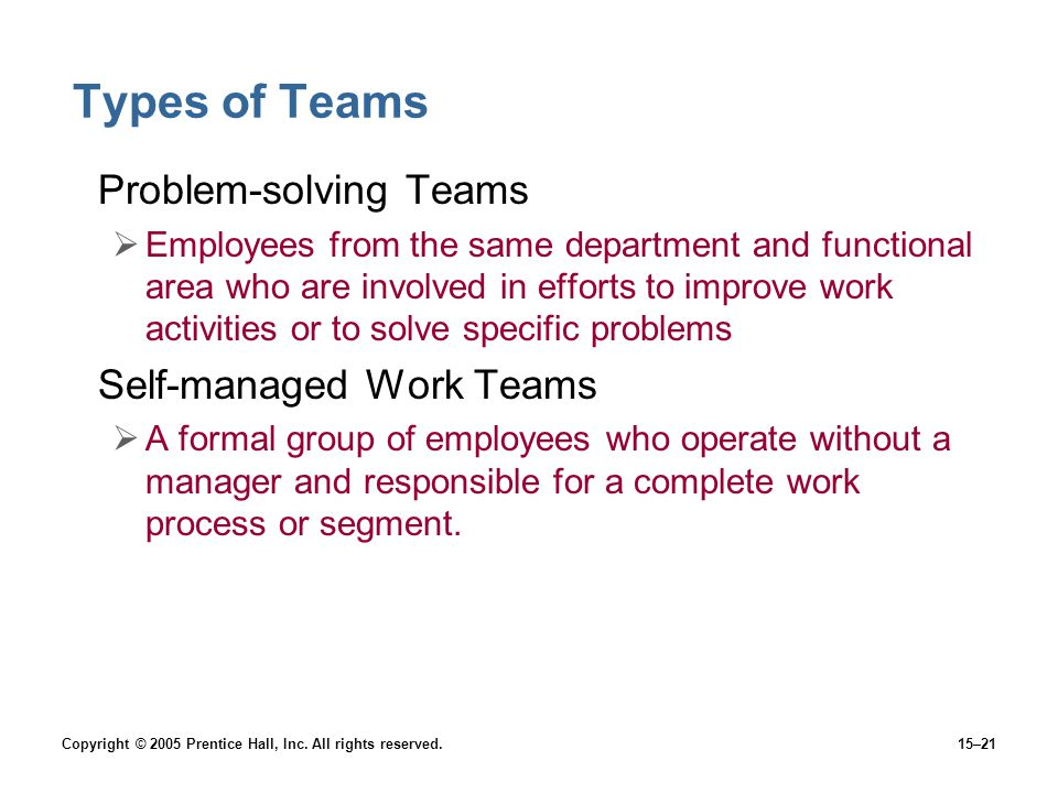 Types of Teams Problem-solving Teams Self-managed Work Teams