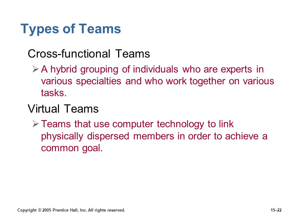 Types of Teams Cross-functional Teams Virtual Teams