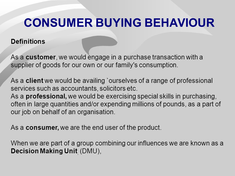 Consumer Buying Behavior Defined
