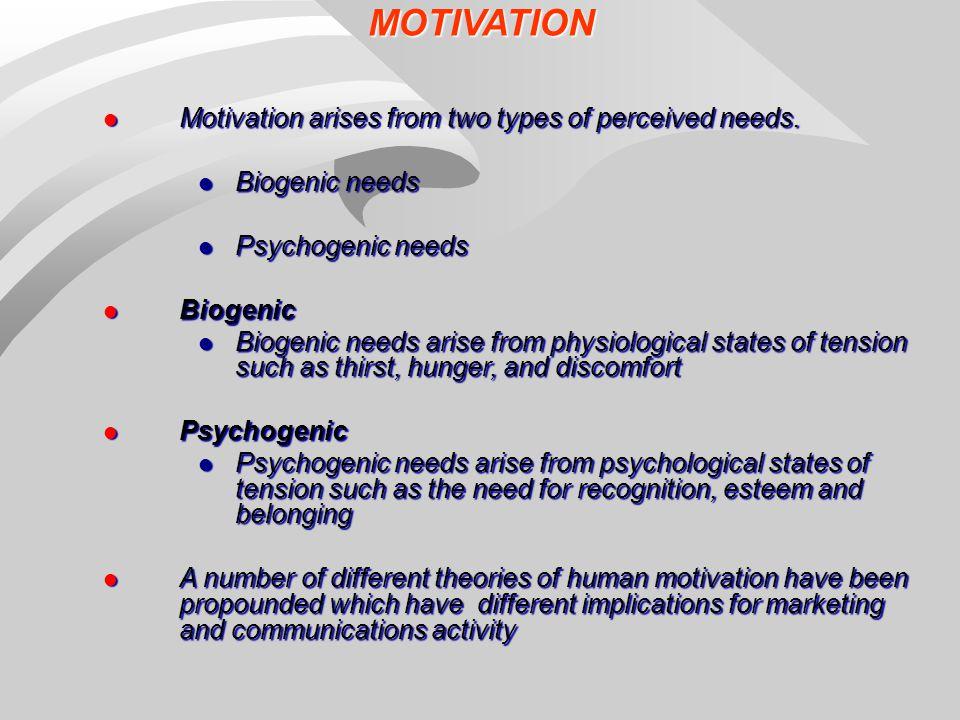 biogenic needs and psychogenic needs Maslow describes biogenic and psychogenic needs biogenic needs –  biological determinants of behaviour psychogenic needs – emotional or.