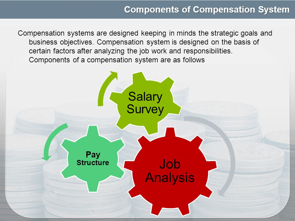 components of a compensation system If we take a look at the components of a compensation system the components of compensation that have been discussed above are the base requirements for any.
