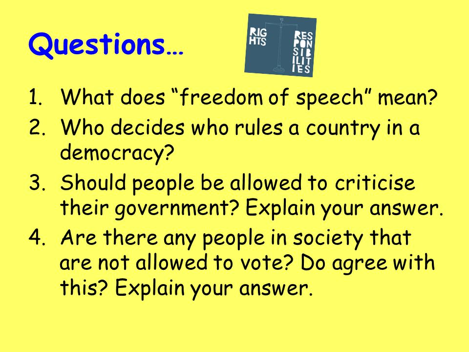 freedom of speech what does this mean Actions themselves can constitute free speech this broad definition makes  interpreting the freedoms, and subsequent limitations, all the more.