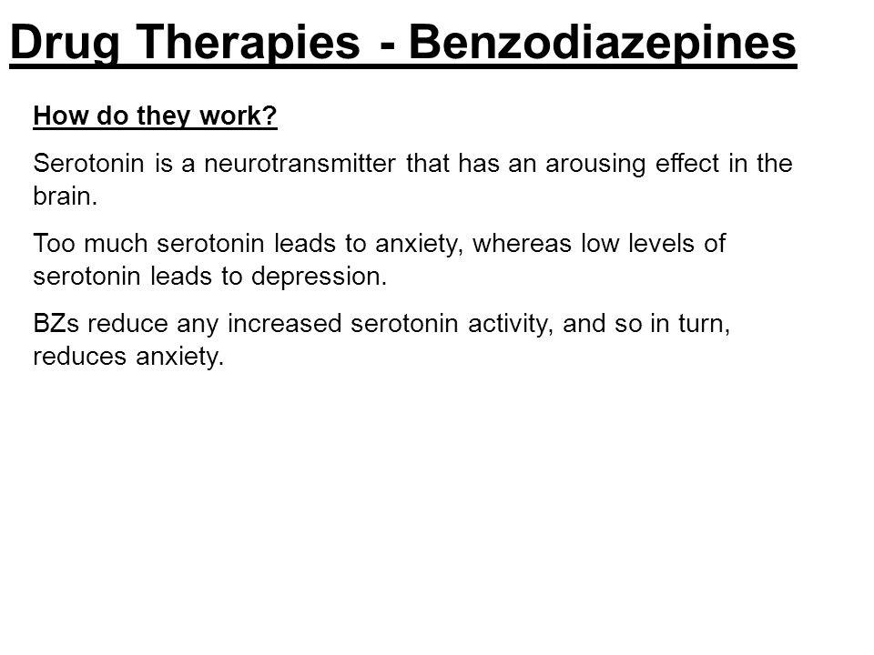 benzodiazepines work by reducing brain activity Benzodiazepines work by enhancing the effects of a neurotransmitter called  gamma-aminobutyric acid (gaba) gaba reduces nerve activity in the brain.