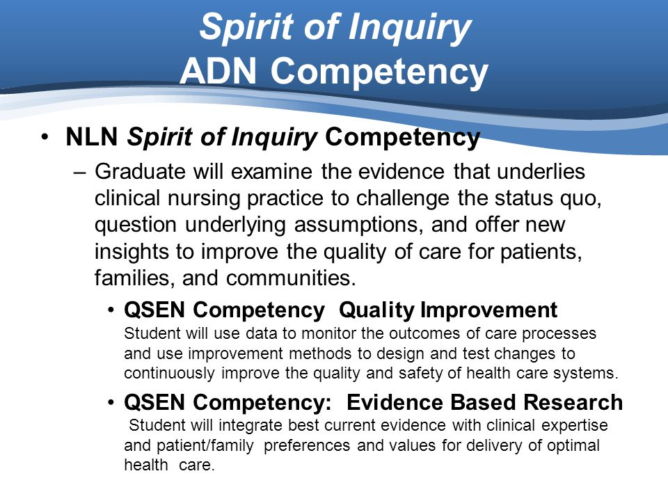 Spirit of Inquiry ADN Competency