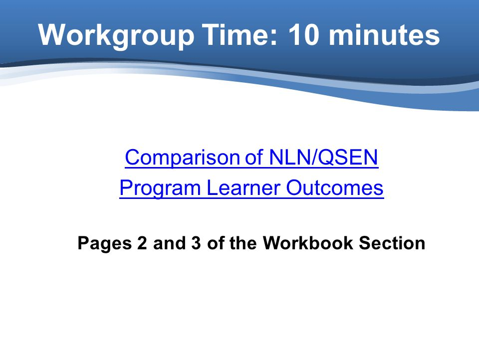 Workgroup Time: 10 minutes