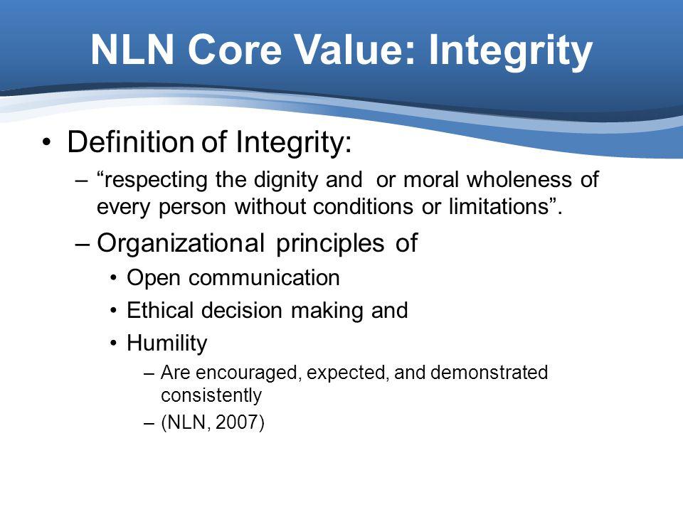 NLN Core Value: Integrity