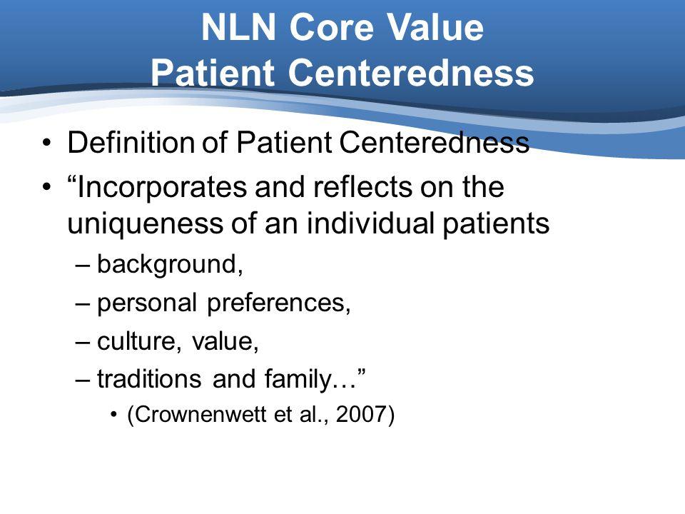 NLN Core Value Patient Centeredness