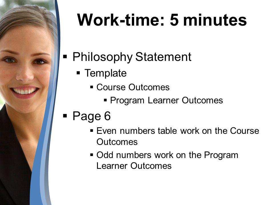 Work-time: 5 minutes Philosophy Statement Page 6 Template
