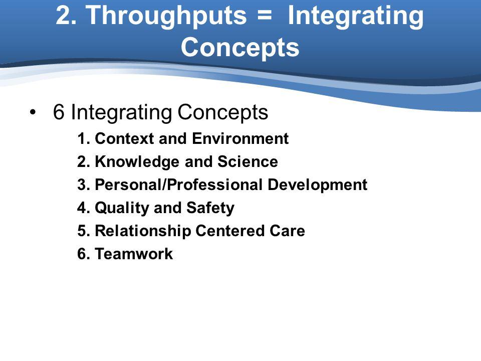 2. Throughputs = Integrating Concepts