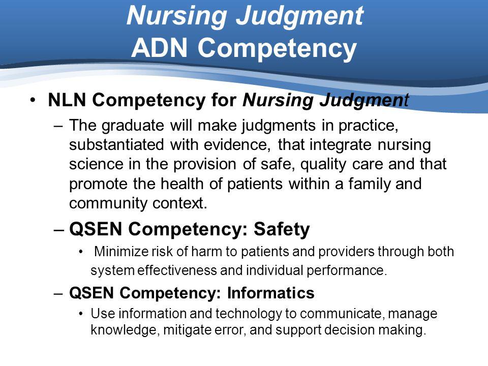 Nursing Judgment ADN Competency