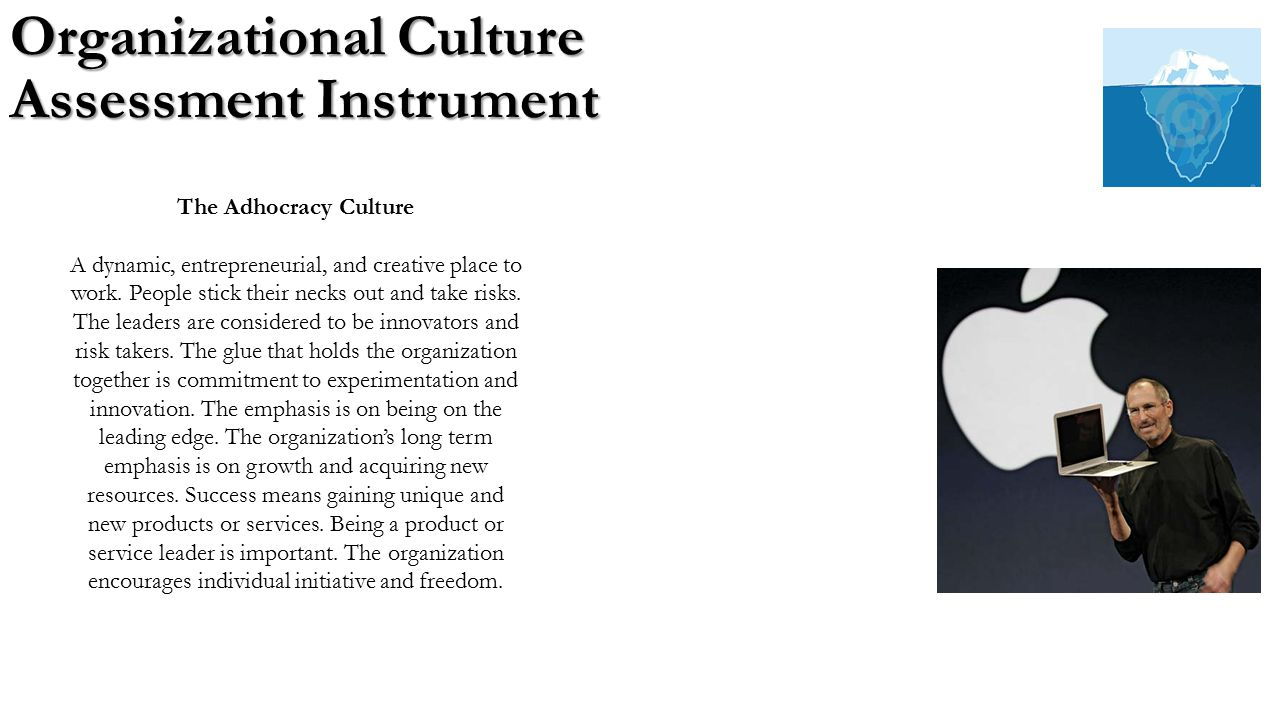 organizational culture assessment instrument essay This presentation gives an overview of the theory and practice of the validated organizational culture assessment instrument (by cameron & quinn) that is freel.