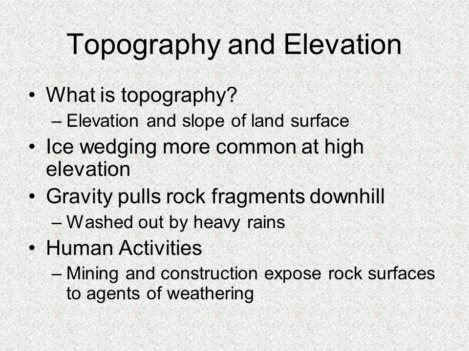 Topography and Elevation