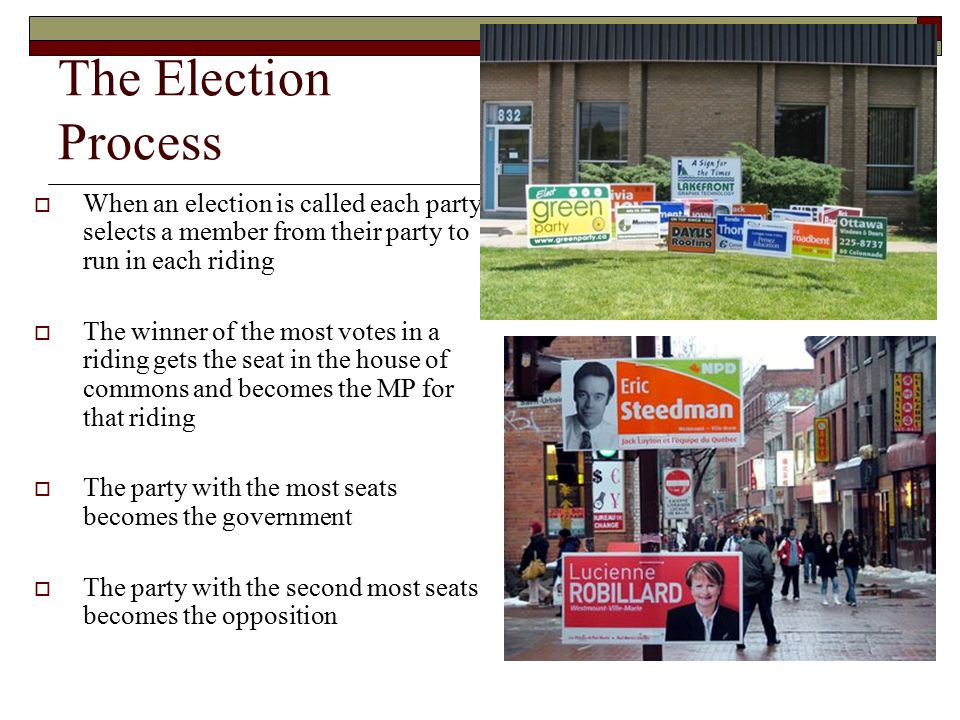 The Election Process When an election is called each party selects a member from their party to run in each riding.
