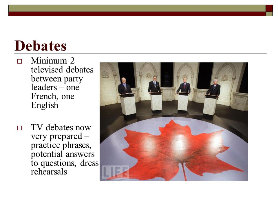 Minimum 2 televised debates between party leaders – one French, one English